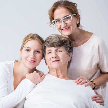 intergenerational: Image of intergenerational family relation between happy women Stock Photo