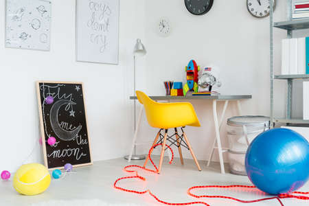 children play area: Shot of a modern and colorful room for children