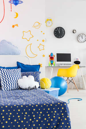 inspired: Shot of a modern space inspired childrens room Stock Photo
