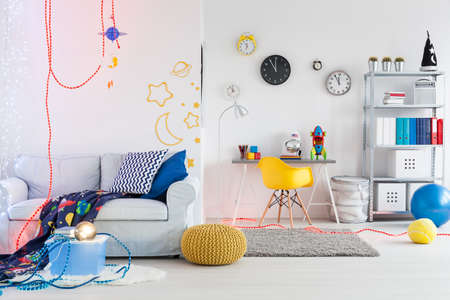 themed: Shot of a spacious space themed room for children