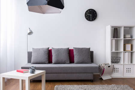 Shot of a very bright living room arranged in grey and white with minimalist furniture and subtle decorative items