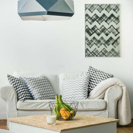 white colour: Minimalist small studio room in white colour Stock Photo
