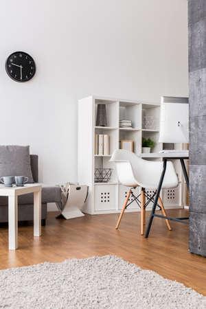 Molto luminoso soggiorno con angolo ufficio arredato in grigio e bianco con morbido tappeto beige in primo piano