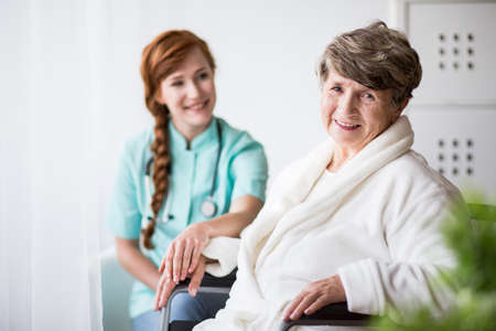 professional woman: Picture of senior woman during hospital treatment Stock Photo