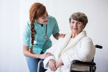 Hospital care: Image of senior woman having hospital care