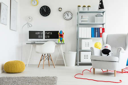Study Desk: Shot of a spacious modern childrens room  full of colorful decorations Stock Photo