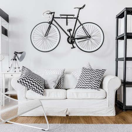 wall decoration: Modern minimalist space and bike on wall