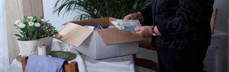 mementos: Mementos of a loved one in a carton box
