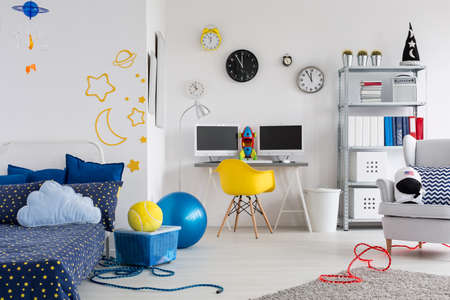 room: Shot of a colorful space inspired childrens room
