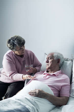 hospice: Hospice patient and his caring, senior wife