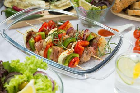 delicious food: Colorful delicious healthy food prepared for barbecue