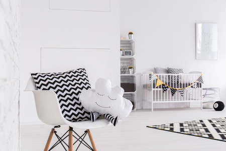 ascetic: Very bright baby room furnished in white