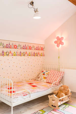 cosy: Shot of a pink cosy little girls bedroom