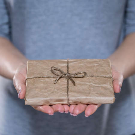 wrapped gift: Female hands with simple wrapped gift, vertical