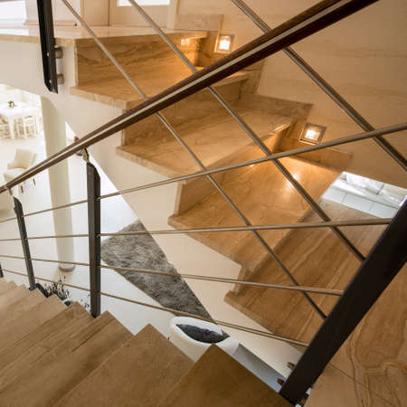 expensive: View of marble staircase in expensive house