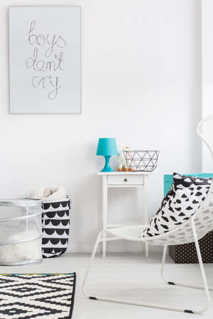 white interior: Very bright interior with white furniture and turquoise details