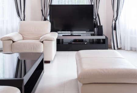 big screen: Big screen TV in luxury living room