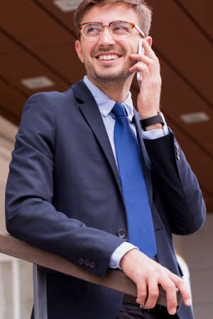 decent: Young businessman is talking with his leader Stock Photo