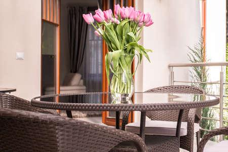 verandah: Close-up of tulips bouquet on the terrace
