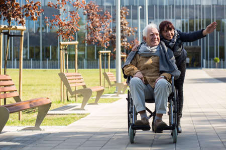 man sit: Retiree sitting in a wheelchair and his granddaughter Stock Photo