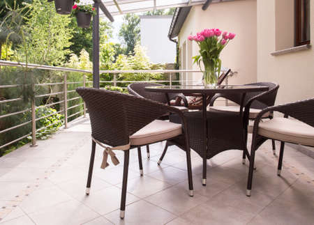 garden furniture: Picture of garden furniture on the balcony Stock Photo
