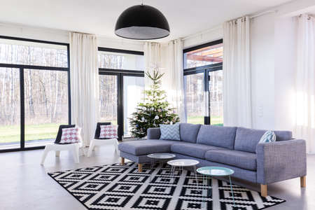 living room window: Spacious living room with large sofa and window wall system.