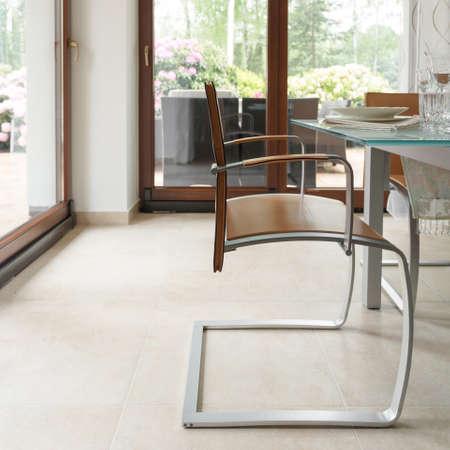 modern chair: Wood and steel chair in modern minimalistic design