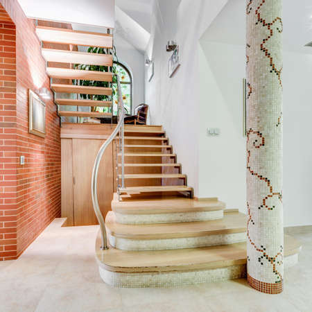 flashy: Image of stairs leading to second floor of flashy house