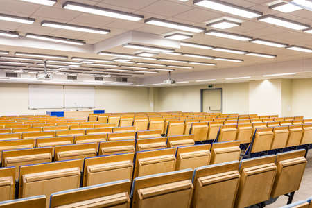 lecture theatre: View from behind of a lecture hall towards whiteboard Stock Photo