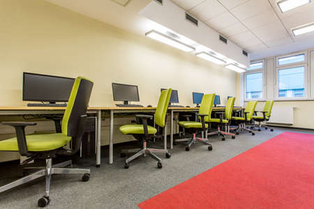 swivel chairs: Computer room with green swivel chairs and fitted carpet