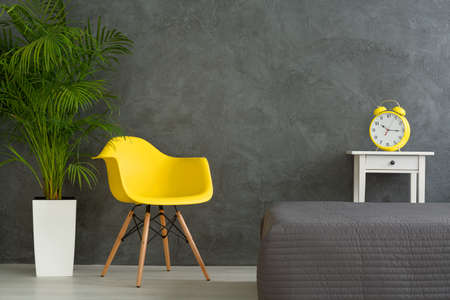additions: Yellow chair and clock alarm and green plant in dark grey bedroom