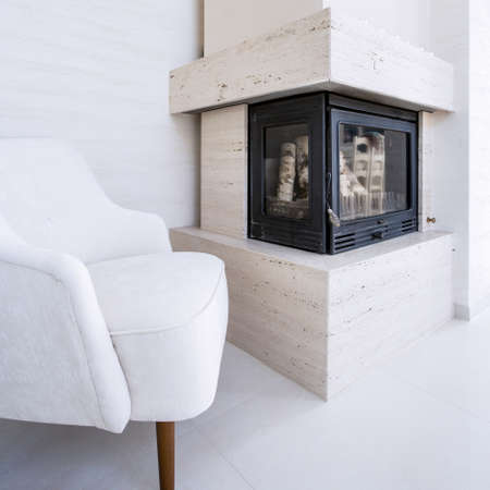 fireplace home: Fireplace in the living room in an elegant home Stock Photo