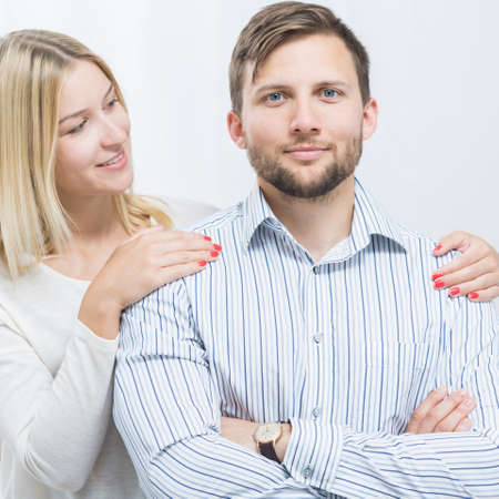 intrusive: Photo of good daughter-in-law caring about husband Stock Photo