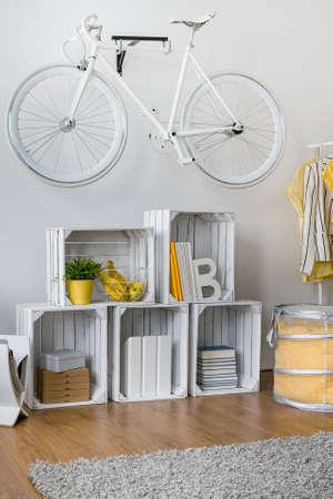 original bike: Wooden boxes used to make creative original rack