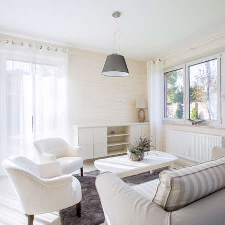 Interieur van comfortabele en lichte woonkamer
