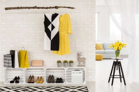 style woman: New light interior with open closet, white living room in the background