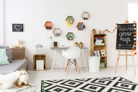 room decor: Shof of a modern creative childrens room with lots of accessories and toys Stock Photo