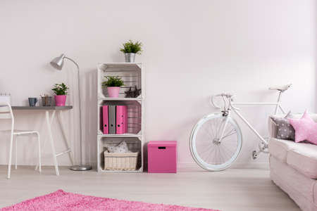 Stylish pink and white living room with wooden floor and carpet. In the corner white vintage bicycle next to sofa Stock Photo