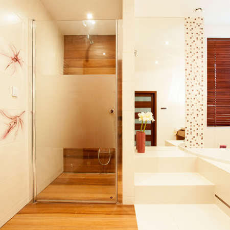 modern bathroom: View of modern wooden shower in bathroom
