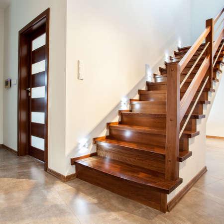 woden: Luxury hallway with woden stairs to bedroom on teh floor