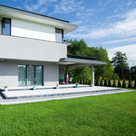 outside house: View of modern house from the outside Stock Photo