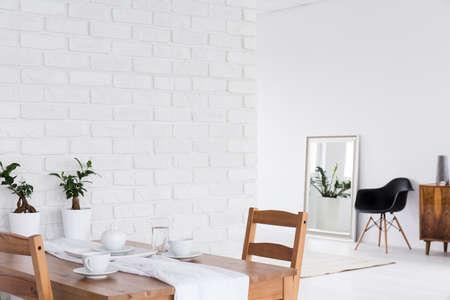 furniture design: White loft design arrangement and minimalist furniture