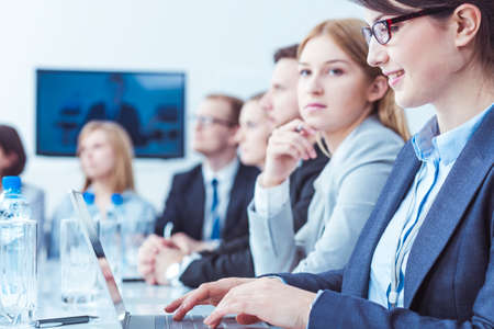 evolving: Young businesspeople evolving new company strategy during business meeting in office Stock Photo