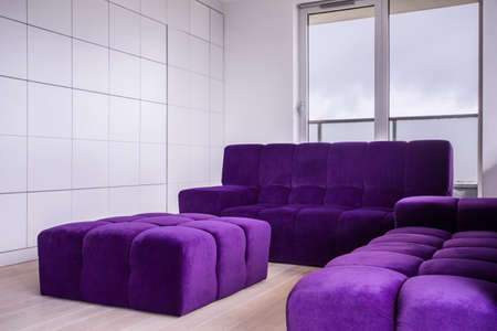 living room furniture: Image of comfortable purple furniture in new living room