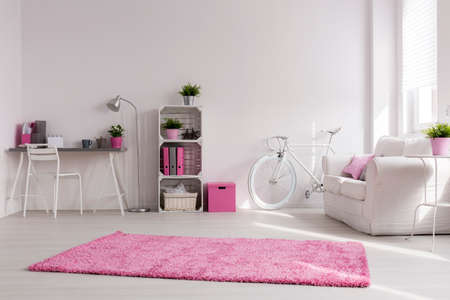 Spacious stylish studio with white walls and pink decorations. Comfortable sofa, vintage bicycle and desk by the wall