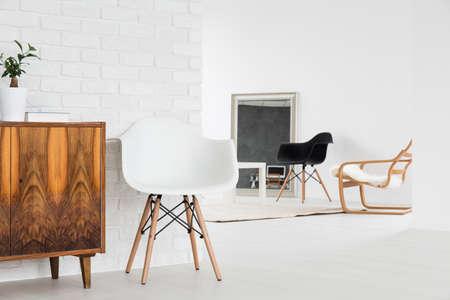 white interior: Modern exclusive space in loft minimalist interior design