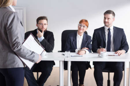 traineeship: Shot of recruiters talking with a job applicant