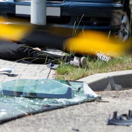 fatal: Close-up of a deadly car accident, horizontal