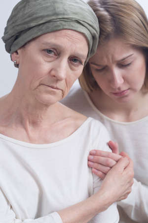 fighting cancer: Shot of two sad women Stock Photo