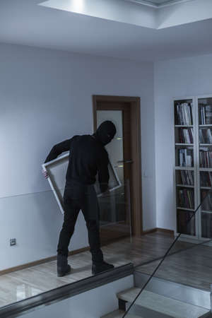 housebreaking: Shot of a burglar trying to leave the house with a painting